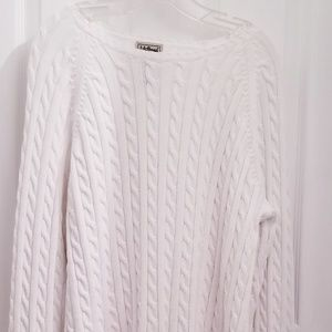 LL BEAN White Cable cotton sweater 1X EUC